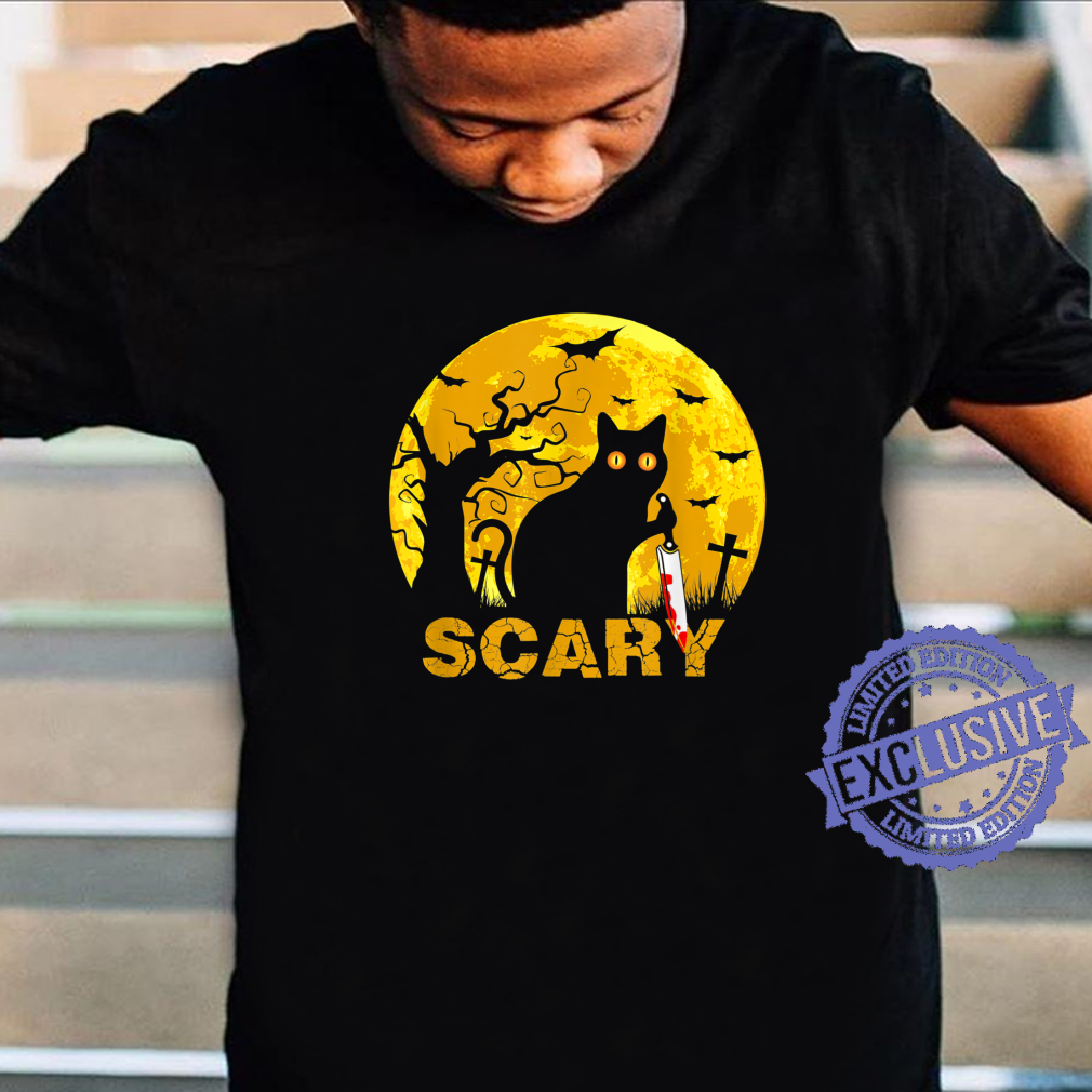 Scary Black Cat With Knife Happy Halloween 2021 Shirt Masswerks Store
